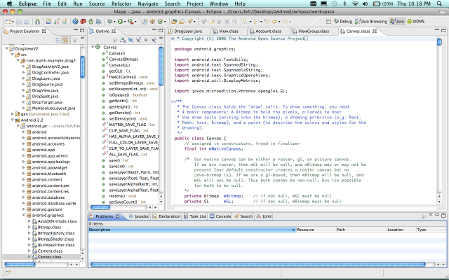 Screenshot of Android source in Eclipse